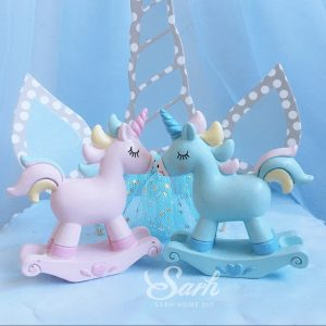 Pink blue unicorn horse decoration